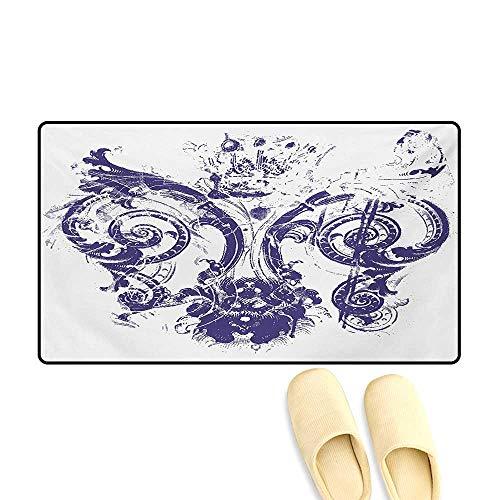 Bath Mat,Digital Grunge Lily Emperor Flag Victorian Kingdom Imperial Theme Print,Door Mats Area Rug,Purple White,24