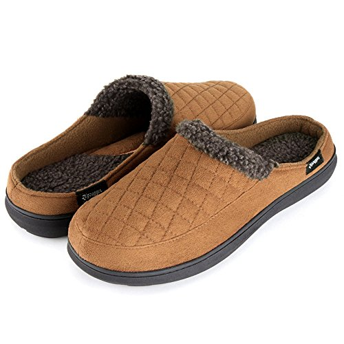 - Zigzagger Mens Suede Fabric Memory Foam Slippers Fleece Lined Slip On Clog House Shoes Indoor/Outdoor,Light Tan,7-8 D(M) US