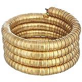 Polinter-Brass Metal Stacked Snake Coil Wrap Around Bracelet