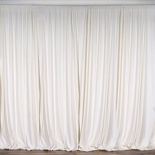 BalsaCircle 10 feet x 10 feet Cream Ivory Polyester Backdrop Drapes Curtains Panels - Wedding Ceremony Party Home Window Decorations
