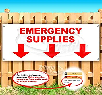 Store Flag, Advertising New Emergency Supplies Down Arrow 13 oz Heavy Duty Vinyl Banner Sign with Metal Grommets Many Sizes Available