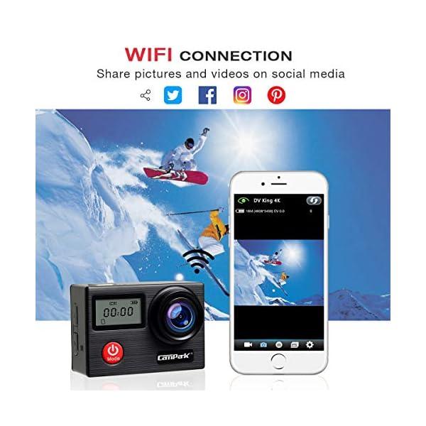 Campark X20 Caméra Sport 4K Ultra HD 20 MP avec EIS Anti-Shake Écran Tactil Télécommande Caméscope WiFi Caméra Étanche…