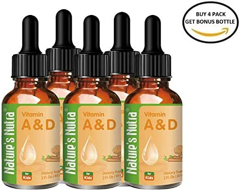 Nature's Nutra Vitamin A&D, 2 Fl. Oz (60ml) 4 + 1 Bundle Pack with Bonus Bottle, Premium Baby and Infant Liquid Drops, Toddlers Kids Children Multivitamin Supplement, No Fishy Smell