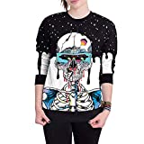 HHei_K Couple Halloween Fashion Long Sleeve Skull 3D Print Pullover Tops Hooded Sweatshirt