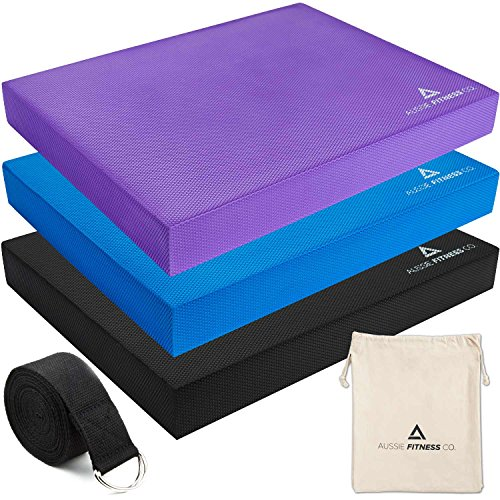 Therapist Recommended Balance Pad & Stretching Kit. Thick Eco Friendly Foam, Best For Yoga, Workout Training and Physical Therapy Exercises.