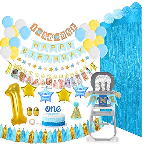 Baby Boy First Birthday Decorations and Party Supplies Mega Bundle (133 Pieces), Includes Balloons, Banners, 12 Months Milestones, Garlands, Cake Topper, Pom Poms, Party Hat, Foil Fringe Backdrops, Gold Ribbons, Glue Dots and More. Blue, White, Gold for Boys