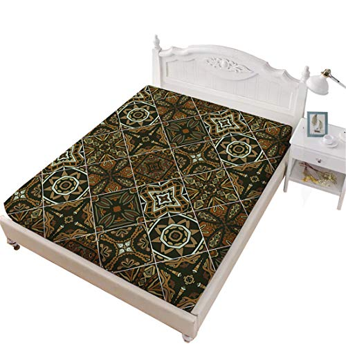 (Oliven Fitted Sheet Twin Size Army Green Indian Pattern Deep Pocket Sheet)