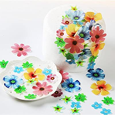 GORLD Set of 48 Edible Flowers Cupcake Toppers Wedding Cake Birthday Party Food Decoration Mixed Size & Colour