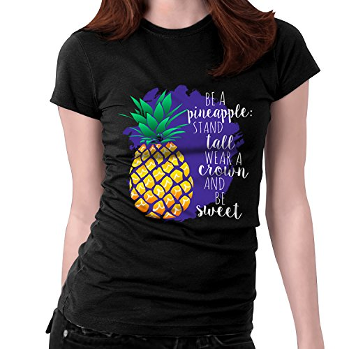 SNAPSMILE Women Pineapple Letter Tshirt Be A Pineapple Stand Tall Wear A Crown Women Black Funny T Shirt