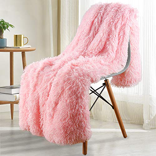 Noahas Shaggy Longfur Throw Blanket with Sherpa Warm Underside, Super Soft, Cozy Large Plush Fuzzy Faux Fur Blanket, Hypoallergenic and Washable Kids Girls Room Decorative Blanket, 50x60, Light Pink