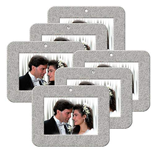 Mini Magnetic Glitter Christmas Photo Frame Ornaments for Holiday Picture Frame Gifts and Tree Decoration - 6-Pack, Horizontal - Silver