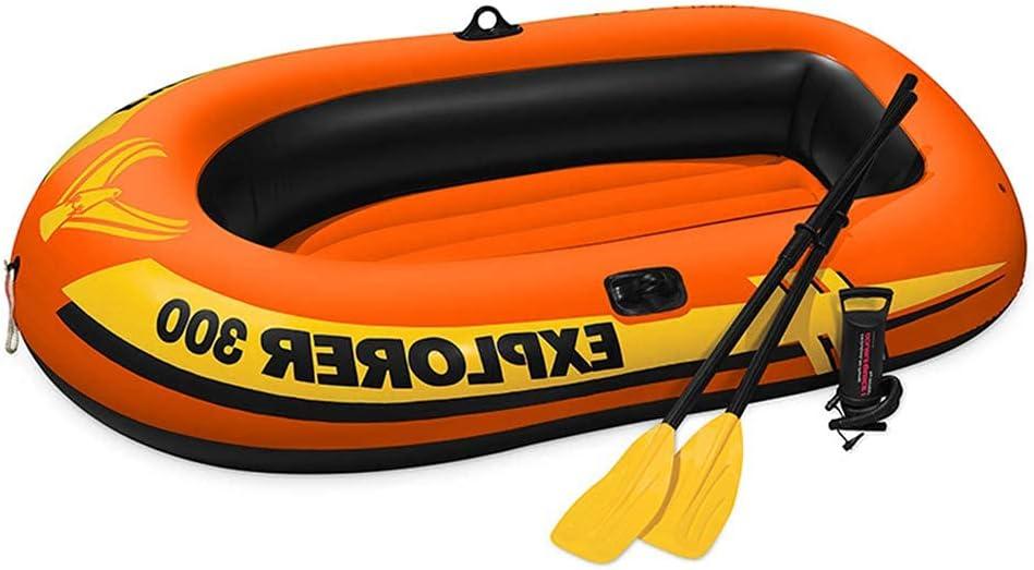 Kayak, 211x117x41CM, Outdoo Bote Inflable Bote de Deriva Bote de Pesca Canoa de Aventura para Adultos, Kayak Inflable PV para 3 Personas, con Paleta de plástico y Bomba de Aire