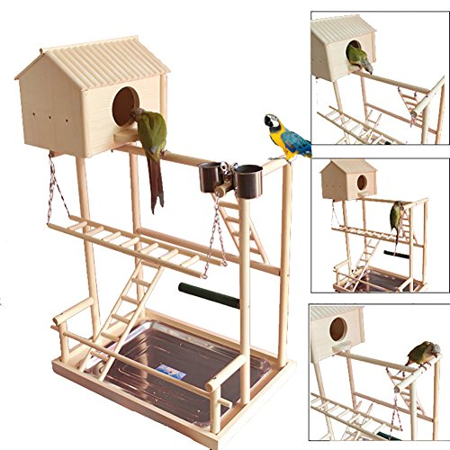 QBLEEV Bird's Nest Stand Parrot Playground Playgym Playpen Playstand Claw Bar Swing Bridge Tray Wood Climb Ladder Wooden Perches Parakeets African Grey Conures Cockatiel Cockatoos Parrotlets by QBLEEV