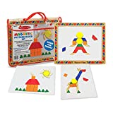 Melissa & Doug Magnetic Pattern Blocks Set (Developmental Toys, Sturdy Wooden Play Board, Carrying Case, 120 Pieces, Great Gift for Girls and Boys - Best for 3, 4, 5, and 6 Year Olds)