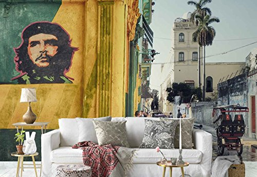 Photo wallpaper wall mural - Che Guevara Graffiti Narrow Street People - Theme Travel & Maps - XL - 12ft x 8ft 4in (WxH) - 4 Pieces - Printed on 130gsm Non-Woven Paper - 1X-1201268V8 by Fotowalls Photo Wallpaper Murals