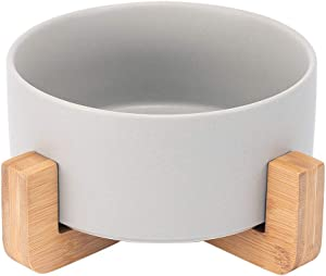 JEROCK Ceramic Cat Dog Bowls Raised Food and Water Dish with Anti-Slip Wooden Stand Elevated Round Pet Feeding Bowl Dishwasher Safe & Easy to Clean (Grey)