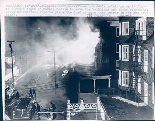 Vintage Photos 1963 Photo Boardwalk Hotels Atlantic City NJ Heroic Battle Firemen Buildings 7x9