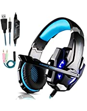 Igrome Gaming Headset mit Mikrofon, Stereo Bass Surround, LED Licht, Blau