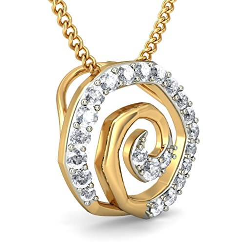 14 K jaune Or 0,22 CT TW Round-cut-diamond (IJ | SI) Pendentif