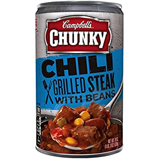 Campbell's Chunky Grilled Steak with Beans Chili, 19 oz. Can (Pack of 12)
