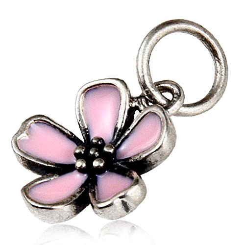Pink Cherry Charm Original 100% Authentic 925 Sterling Silver Flower Beads fit for DIY Charms - Silver Sterling Charm Flower