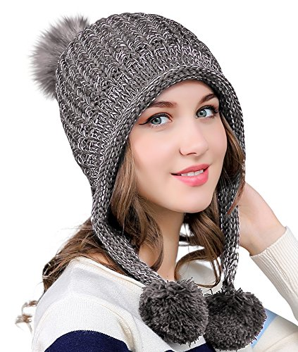 Urban CoCo Women's Winter Cable Knitted Pom Pom Beanie Hat Earflap Caps (Grey)