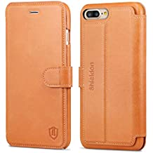 iPhone 8 Plus Case, iPhone 7 Plus Leather Case, SHIELDON Genuine Leather Wallet Case Credit Card Holder Slot Shockproof Protective Cover iPhone 7 Plus / 8 Plus - Brown