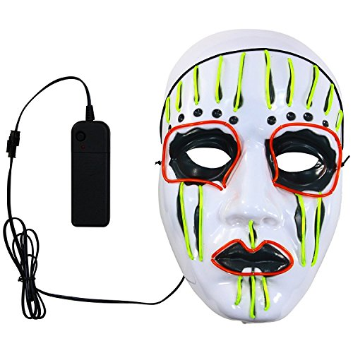 QUEENSAID Halloween Theme EL Glow Cold Light Slipknot Mask, Decor Led Glowing Mask