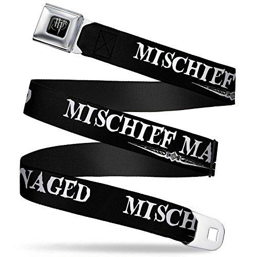 Mischief Belt - Buckle-Down Seatbelt Belt - Harry Potter MISCHIEF MANAGED Black/White - 1.5