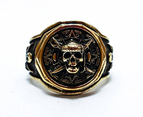 Jack Sparrow Gold-Tone Brass Pirate Ship Skull Ring