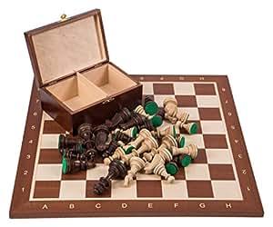 Profesional Ajedrez de madera Nº 6 SQUARE - Caoba - Tablero de ajedrez + Figuras - Staunton 6