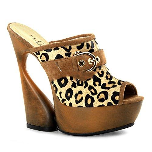 Pleaser Day & Night - Zapatos de vestir de piel para mujer Multicolor Leopard