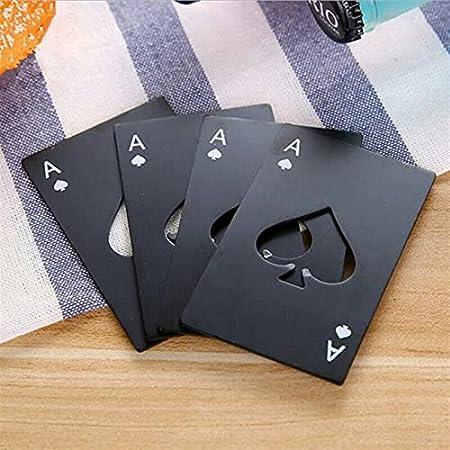 8.5 * 4.9cm Black/Silver Poker Tarjeta de póquer en forma de botella de cerveza Personalizada Creativa de acero inoxidable Botella de botella Barra de barra Herramienta de vino abrelatas