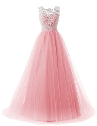 Eudolah Princess Scoop Neck Lace Brush Train Chiffon Prom Dress Pink UK 10