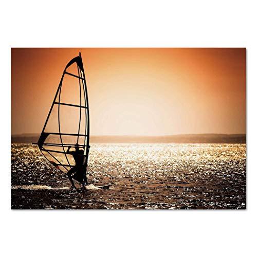 - Large Wall Mural Sticker [ Coastal Decor,Windsurfer Silhouette Sunset Water Sports Summertime Fun Holiday,Dark Orange Black White ] Self-adhesive Vinyl Wallpaper / Removable Modern Decorating Wall Art
