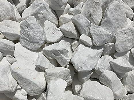 Marmorkies weiss gebrochen 100-150mm Zierkies Gartenkies 25kg Sack Marmorsplitt