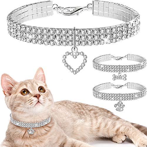 Weewooday 3 Pieces Bling Rhinestones Pet Collars Glitter Pendant Dog Collars Adjustable Crystal Cat Collar Elastic Pet Necklace for Small Pet Cat Dogs Puppy
