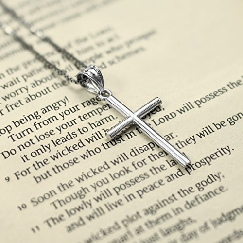 "Sterling Silver Cross Necklace Pendant with 18"" Box Chain"