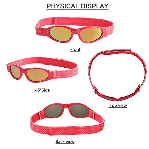 Baby Navigator Sunglasses with UV400 Lens and Adjustable Neoprene Straps & Exciting colors Age: 0-12months. (Strawberry Red with Red Revo) by COCOSAND (Image #2)