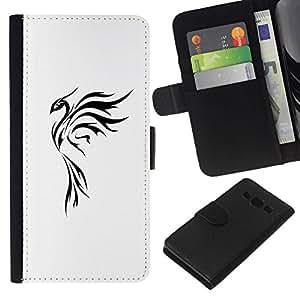 All Phone Most Case / Oferta Especial Cáscara Funda de cuero Monedero Cubierta de proteccion Caso / Wallet Case for Samsung Galaxy A3 // Tattoo Art Simple Black White