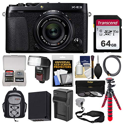 Fujifilm X-E3 4K Digital Camera & 23mm f/2 XF Lens (Black) with 64GB Card + Backpack + Flash + Battery & Charger + Tripod + Filters + Strap Kit