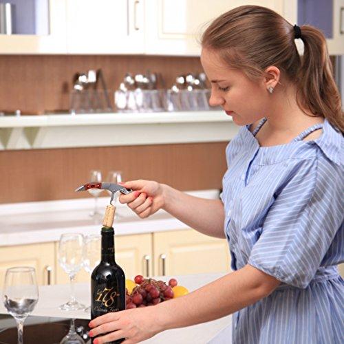 MICHELANGELO Professional Waiters Corkscrew With Rosewood Handle & Bonus Leather Case, Wine Keys, 3-in-1 Double Hinged Corkscrew Wine Bottle Opener With Foil Cutter & Beer Bottle Opener by MICHELANGELO (Image #3)