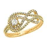 Diamond Infinity Beaded 14k Yellow Gold Ring(Size 9.5)