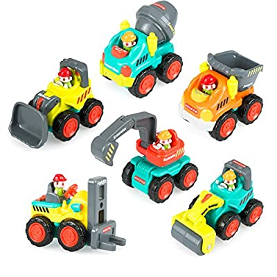 Pocket Car Toys, Sliding Vehicles Trucks Toy Sets for Baby Toddlers Over 18 Months – ( Set of 6: Bulldozer, Excavator, Dumper, Cement Mixer, Forklift, Road Roller) by Leyic that we recomend individually.
