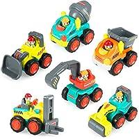 Pocket Car Toys, Sliding Vehicles Trucks Toy Sets for Baby Toddlers Over 18 Months – ( Set of 6: Bulldozer, Excavator, Dumper, Cement Mixer, Forklift, Road Roller)