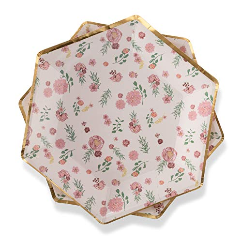 (Floral Paper Plates Pink Flowers 7