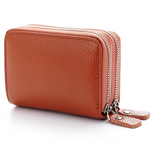 Lecxci Leather 2 Zipper Credit Wallets