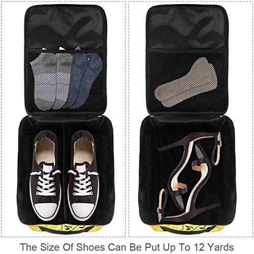 MYSTAGE シューズバッグ 靴箱 音楽 音符 シューズケース シューズ袋 旅行収納ポーチ 二層式 靴入れ 小物収納 収納ケース アウドドア 出張 旅行