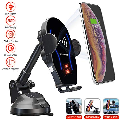 - Wireless Car Charger 2019 | LED Indicator Lights Car Mount Auto Clamping | Dashboard Windshield Air Vent Mount 3 in 1 Car Holder | Compatible with iPhone, Samsung, Huawei, LG and all Qi Enabled Device