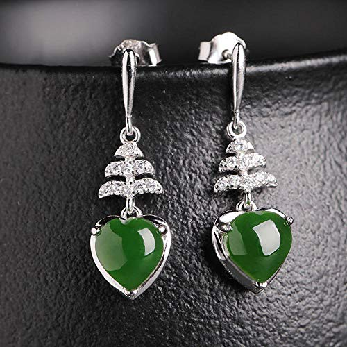 Mayanyan 925 Silver Inlay Natural hetian Jade Jasper Earrings Long Earrings Heart-Shaped Jade Earrings Ladies Gift ()